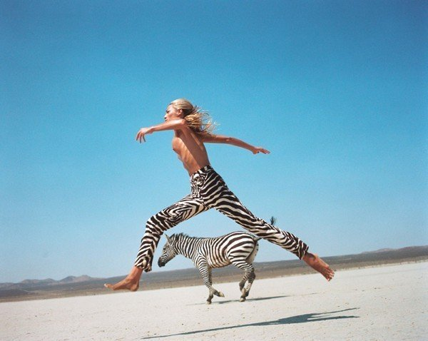 Helena Christensen with Zebra