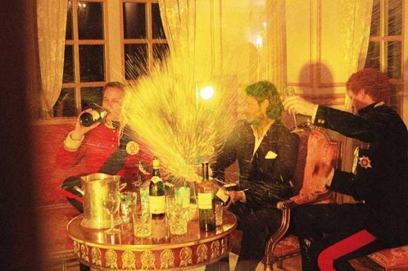 Beckham popping Champagne