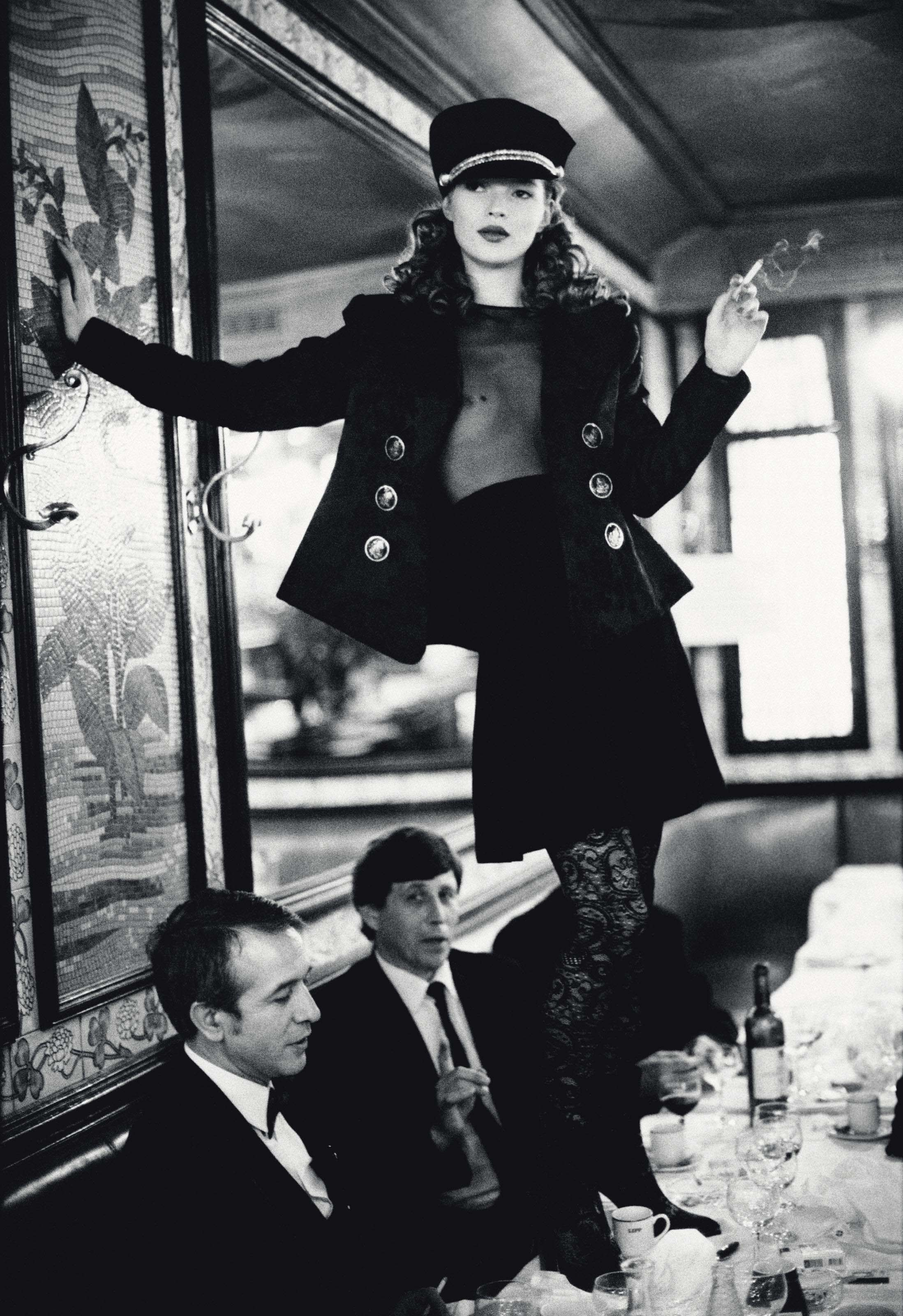 Kate Moss in Paris at Cafe Lipp