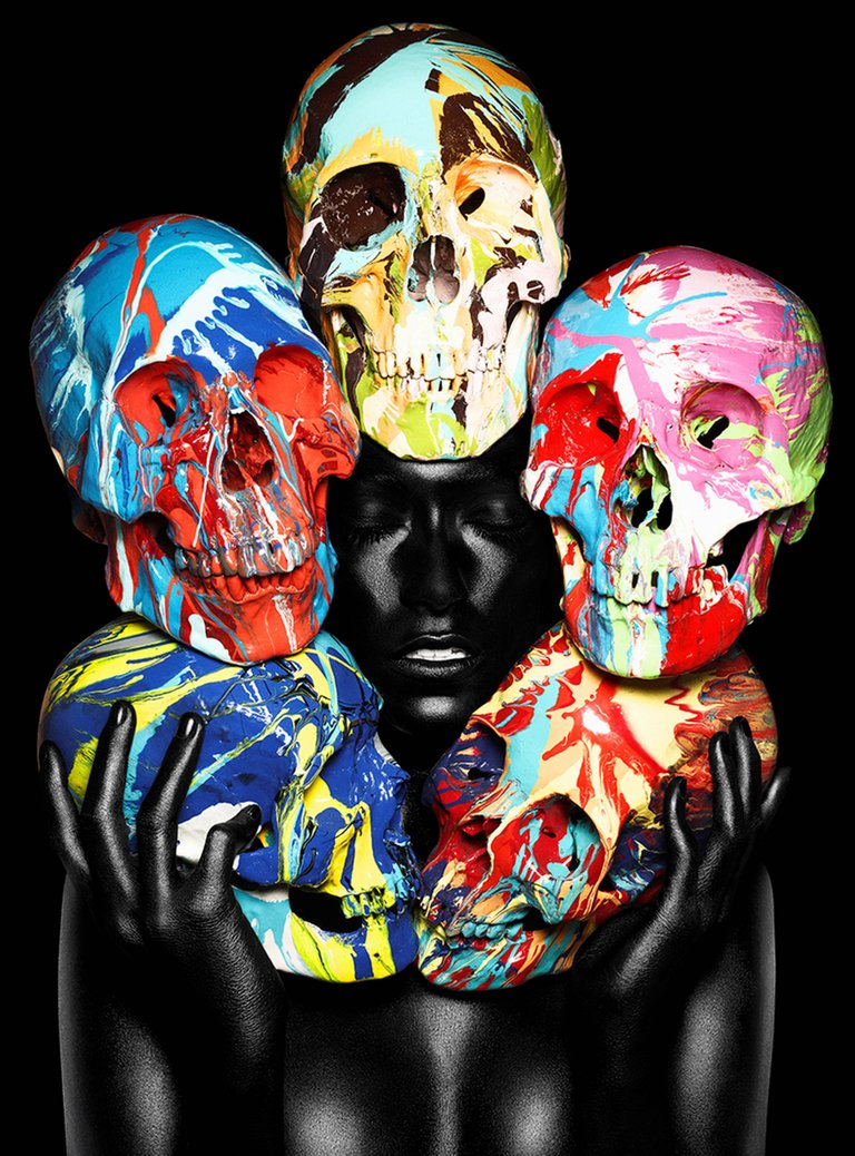 Painted Skulls I (eyes closed)