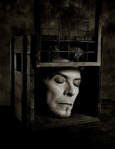 David Bowie head in a box